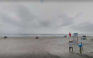 Blue water temporarily invades Galveston Island beaches