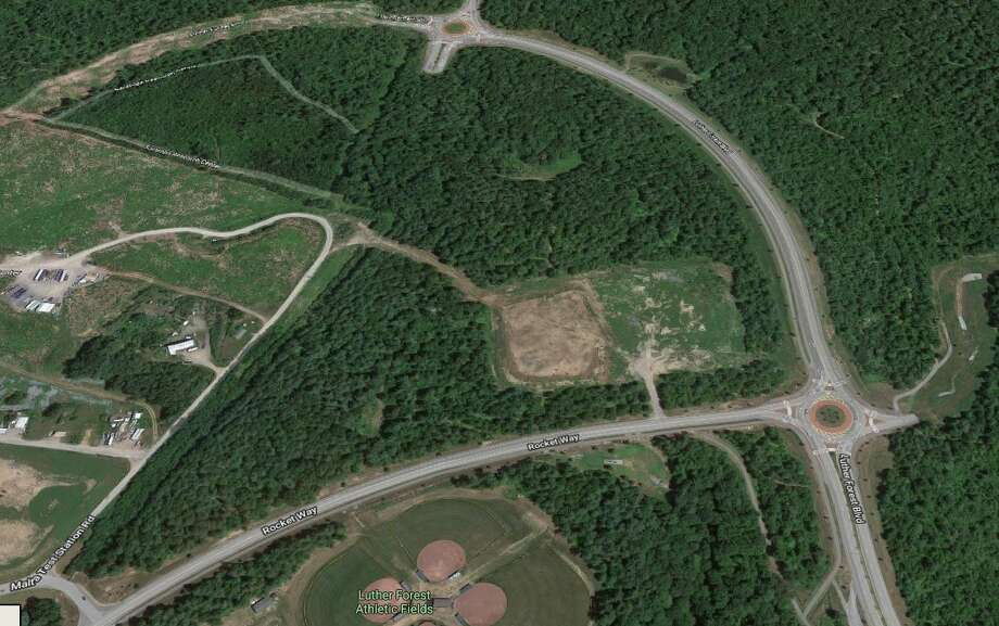The Saratoga County IDA is buying 20 acres of land on Rocket Way nearby GlohalFoundries Fab 8 factory. The parcel is located in the middle of this photo where the two roads intersect. Photo: Google