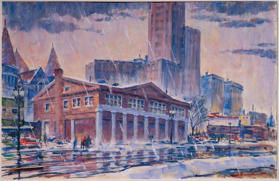 "J. Erwin Porter ""The Weighlock Building"" (1960) pastel and watercolor"