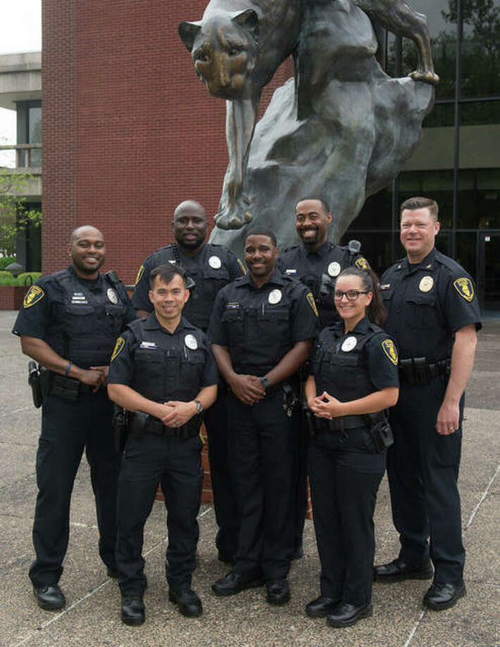 Front row, from left, SIUE Police Officers Xac Vo, Kasey Hoyd and Linsey Rice; and back row, from left, SIUE Police Officers Anthony Jones, Alphonso Shepherd, Kelly Waters and Chief Kevin Schmoll. Photo:       For The Telegraph