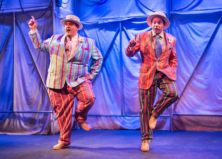 """The two Dandies (Chris Plank and Philippe Gosselin) tear up the dance floor in New Conservatory Theatre Center's """"When Pigs Fly."""""""