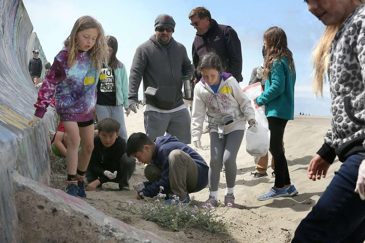 Third graders from Lafayette Elementary school including Bodhi Hunt (left, tie died shirt) and Maya Guerra (middle with bucket) picked up garbage and participated at Ocean Beach for the 25th Annual Kids� Ocean Day Adopt-A-Beach Cleanup on Wednesday, May 16, 2018 in San Francisco, Calif. The Marine Science Institute is organizing the event, and is providing in-school presentations to all of the students about life in the ocean and how students can positively impact the environment.