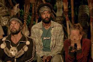 """MANA ISLAND - APRIL 27: """"The Finish Line Is In Sight"""" - Domenick Abbate, Wendell Holland and Kellyn Bechtold at Tribal Council on the eleventh episode of Survivor: Ghost Island, airing Wednesday, May 2 (8:00-9:01 PM, ET/PT) on the CBS Television Network. Image is a screen grab. (Photo by CBS via Getty Images)"""