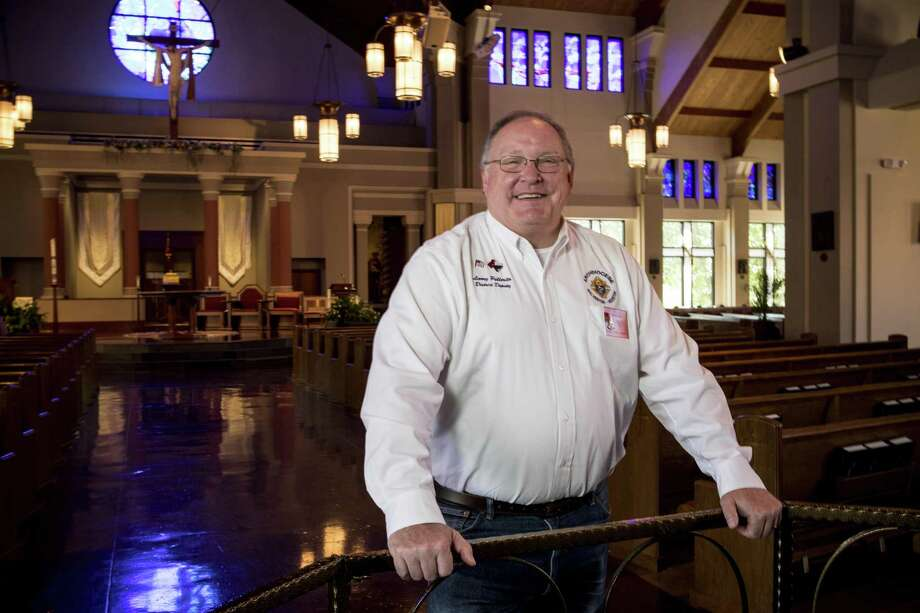 Larry Pellerito poses for a portrait at St. Anthony of Padua Catholic Church in Houston. Pellerito organized a massive relief effort through the Knights of Columbus for the entire Houston and Galveston region during Hurricane Harvey. Pellerito organized drop stations, food supplies for community meals, gift certificates and grants for knights and community members in need. ( Brett Coomer / Houston Chronicle ) Photo: Brett Coomer, Staff / Houston Chronicle / © 2018 Houston Chronicle