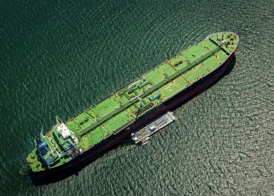 The Alaskan Frontier oil tanker takes on fuel at an outside anchorage in this aerial photograph taken near the Port of Los Angeles in Los Angeles, California, U.S., on Thursday, April 19, 2018. Senior trade officials from the U.S., Canada and Mexico will meet again in Washington in an intensified push to reach a Nafta agreement in the next few weeks. Photo: Tim Rue /Bloomberg / © 2018 Bloomberg Finance LP