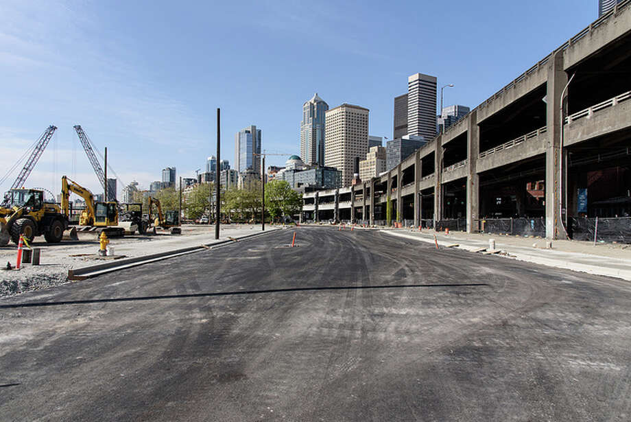 Traffic on Alaskan Way will be diverted to new lanes just west of the viaduct before crews start demolishing the structure. Photo: Courtesy WSDOT