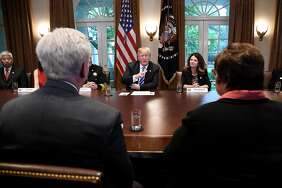 President Trump speaks during a meeting with California leaders and public officials in the Cabinet Room of the White House in Washington, D.C., U.S., on Wednesday, May 16, 2018.
