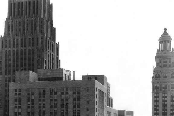 Looking south from the old Chronicle Building down Travis, 1953. At left is the Gulf Building while the Esperson Building is to the right.
