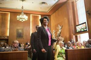 Martha Castex-Tatum walks up front to be sworn in as District K Council Member, Wednesday, May 16, 2018, in Houston. ( Marie D. De Jesus / Houston Chronicle )