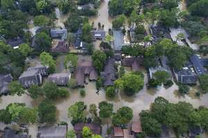 Homes just east of Beltway 8 inundated with water from the overflowing Buffalo Bayou north of Briar Forest Dr., Saturday, September 2, 2017, in Houston. (Mark Mulligan / Houston Chronicle)