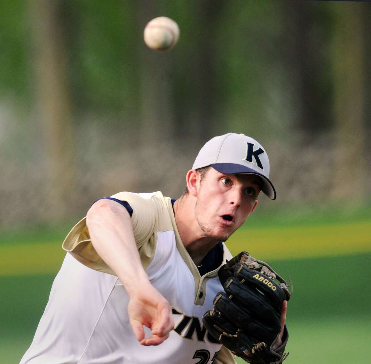 King School pitcher Renn Lints throws during a game against Brunswick School on May 4 in Greenwich. The Vikings finished the regular season with a 12-2 record.