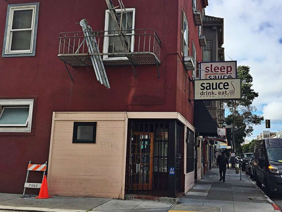 A Hayes Valley eatery and inn have hit the market: last week, 131-135 Gough St., home to Sauce and its boutique hotel, Sleep Over Sauce, Photo: Hoodline