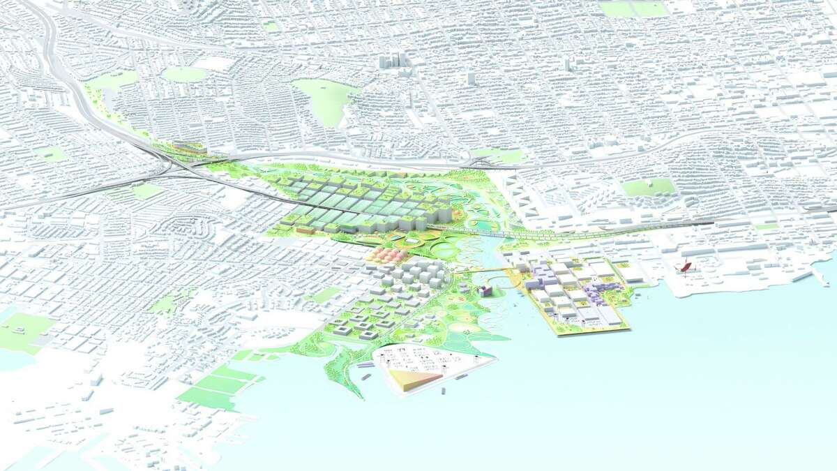An overview of the redesigned Islais Creek between the Bayview and Dogpatch in San Francisco.