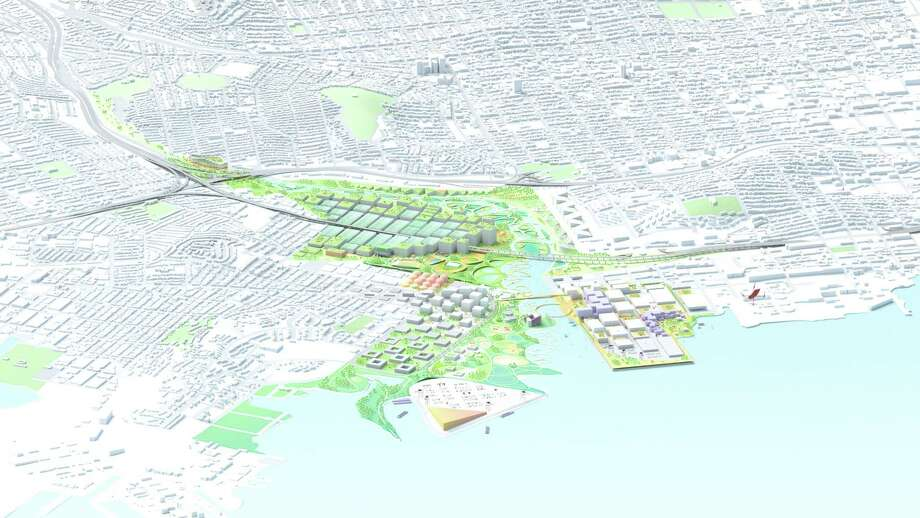 An overview of the redesigned Islais Creek between the Bayview and Dogpatch in San Francisco. Photo: BIG+One+Sherwood