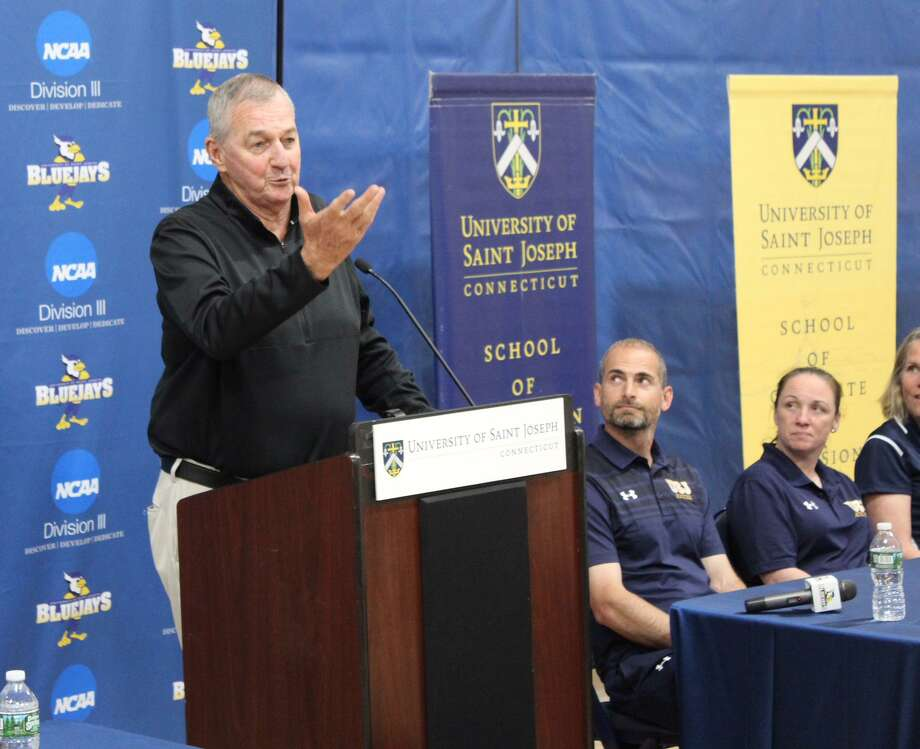 University of Saint Joseph's Jim Calhoun speaks at a news conference Wednesday in West Hartford. The former UConn coach said he expected to coach the Blue Jays next season. Photo: University Of Saint Joseph / Stamford Advocate Contributed