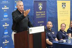 University of Saint Joseph's Jim Calhoun speaks at a news conference Wednesday in West Hartford. The former UConn coach said he expected to coach the Blue Jays next season.