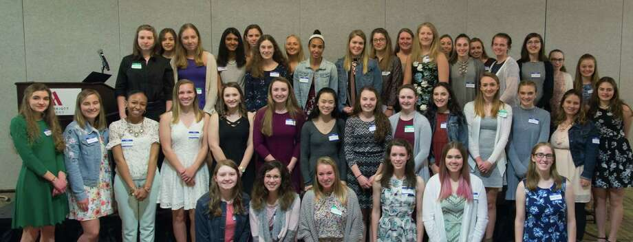 The New York Capital District section of the Society of Women Engineers hosted the 16th Annual Merit Award dinner last month to honor 53 female students from 31Capital Region high schools. Students and their families were invited to a dinner where they listened to a speaker pursuing  a  STEM career, networked with peers, and  connected with STEM professionals. Five students received the Outstanding Achievement Award, a monetary award to be used toward college application fees, campus visits, standardized test preparation, books, and tuition. (Submitted photo)