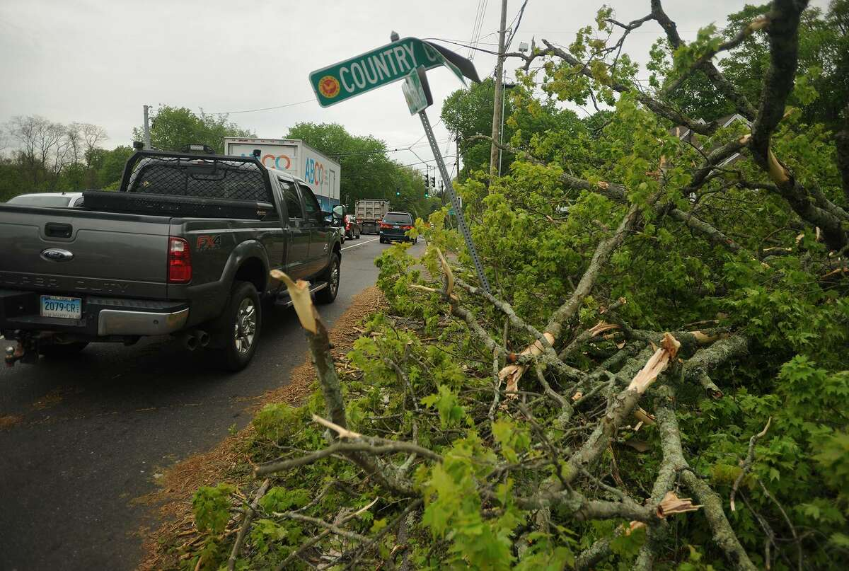 A large downed tree on the shoulder of Route 25 in Newtown, Conn. on Wednesday, May 16, 2018 in the aftermath of Tuesday evening's storm.