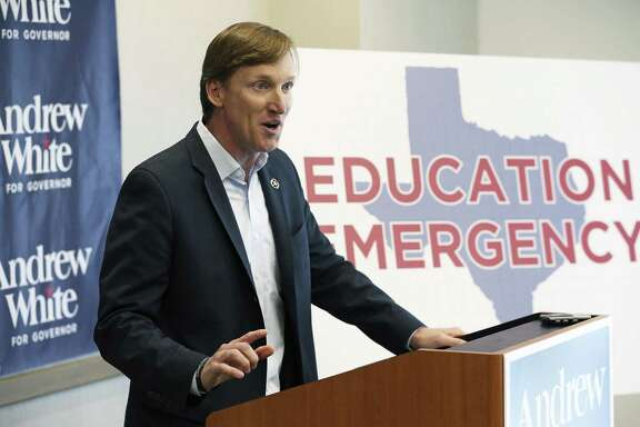 Democratic candidate for governor Andrew White announces his plan for revamping Texas education at a news conference in Austin on April 18, 2018.