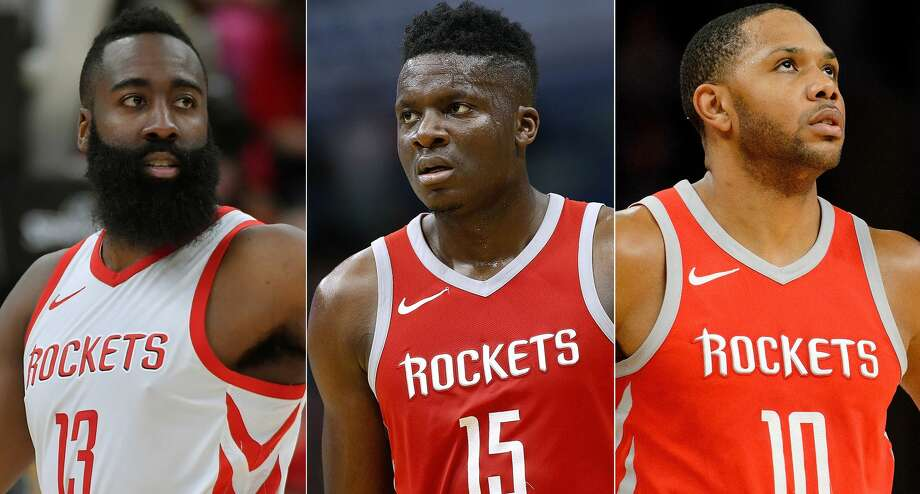 James Harden, Clint Capela and Eric Gordon of the Rockets were announced Wednesday as finalists for the NBA's top awards to be presented June 25 in Los Angeles. Photo: Getty