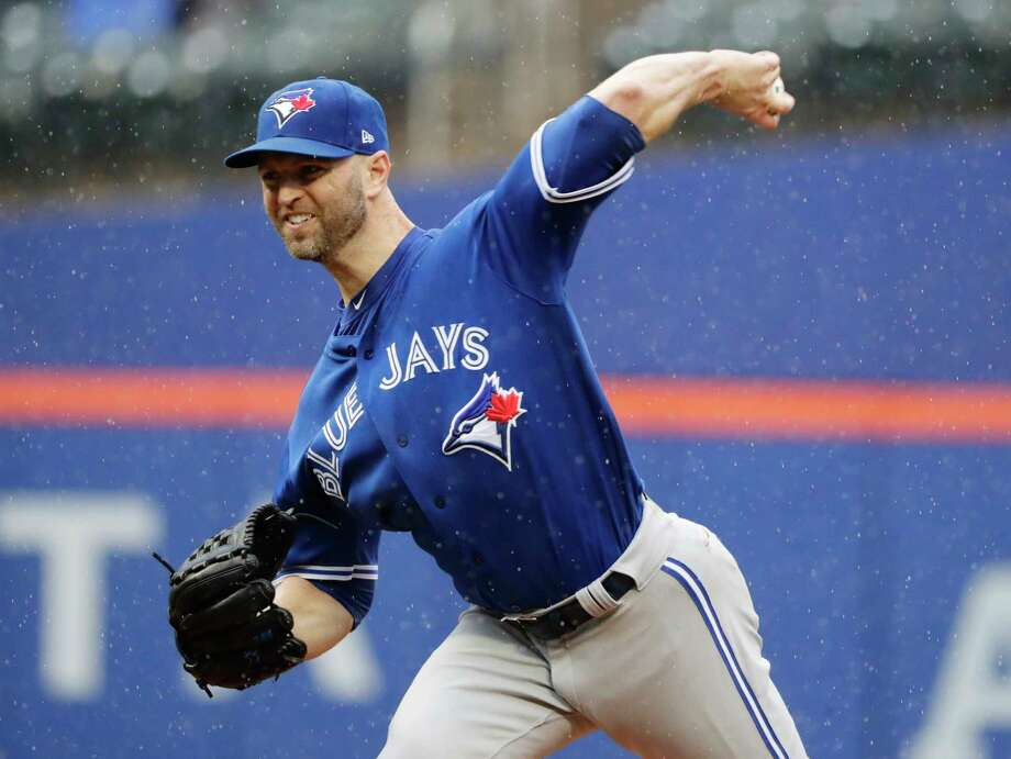 Toronto Blue Jays' J.A. Happ delivers a pitch during the first inning of a baseball game against the New York Mets, Wednesday, May 16, 2018, in New York. (AP Photo/Frank Franklin II) Photo: Frank Franklin II / Copyright 2018 The Associated Press. All rights reserved.