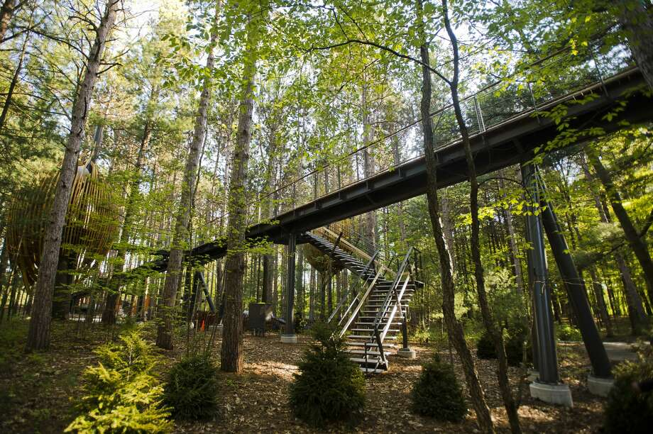 Scenes from a sneak peek tour of the new amenities at Whiting Forest, including a canopy walk, pedestrian bridges, a playground, a forest classroom and a cafŽe, on Wednesday, May 16, 2018. The forest is now scheduled to open in early October 2018. (Katy Kildee/kkildee@mdn.net) Photo: (Katy Kildee/kkildee@mdn.net)