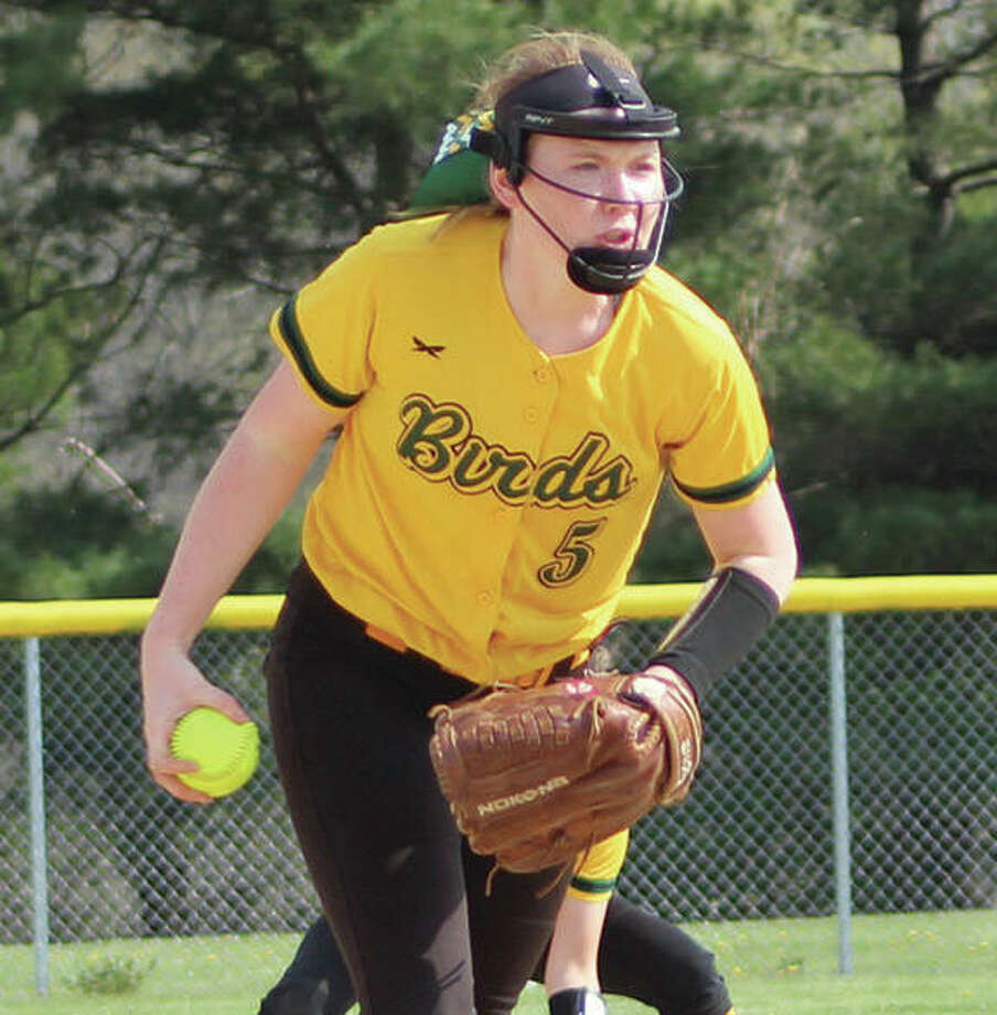 Southwestern pitcher Bailee Nixon shut out Roxana on Wednesday in the semifinals of the Marquette Class 2A Regional at Moore Park in Alton to send the Piasa Birds to a Saturday title date against Marquette. Photo:       Greg Shashack / The Telegraph