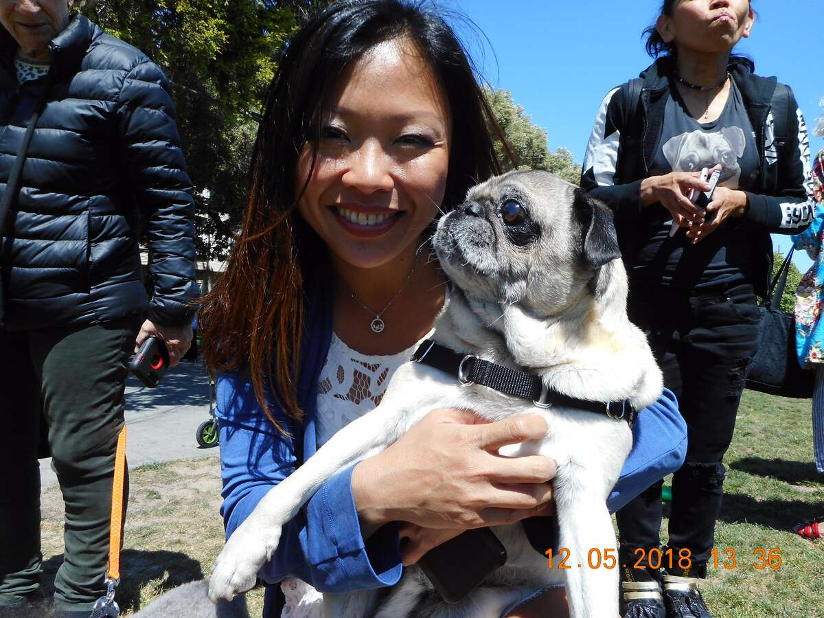Stephanie Lee and her dog, Phyllo, pose for a picture in Duboce Park after being reunited.