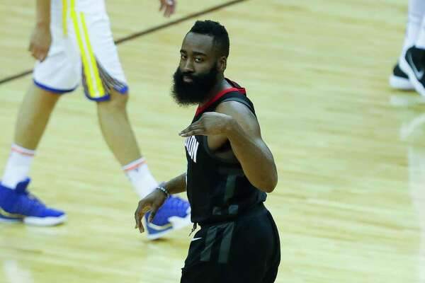 Houston Rockets guard James Harden (13) celebrates during the first half of Game 2 of the Western Conference Finals at the Toyota Center, Wednesday, May 16, 2018, in Houston.