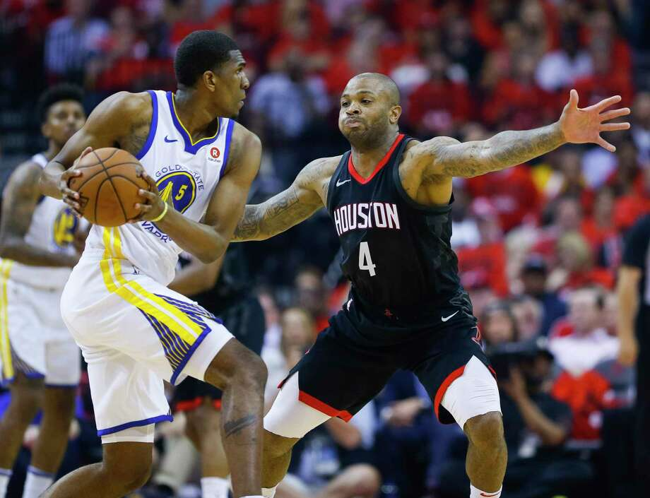 The Rockets' P.J. Tucker was a force at both ends of the court as his team evened the Western Conference finals at a game apiece with a Game 2 rout of the Warriors. Photo: Michael Ciaglo, Houston Chronicle / © 2018 Houston Chronicle