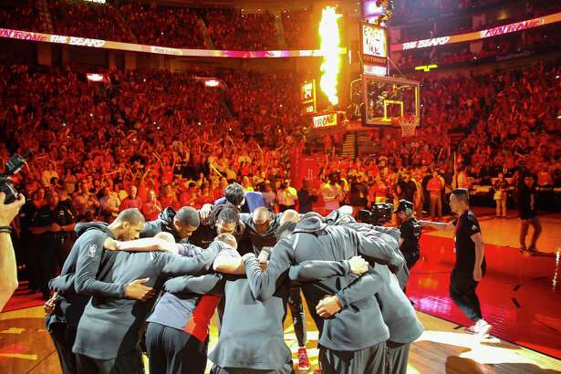 The Rockets warm up before the start of Game 2 of the Western Conference Finals at the Toyota Center, Wednesday, May 16, 2018, in Houston.