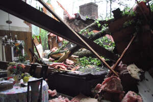 A rare violent storm, described as a microburst, destroyed a living room in Brookfield on Tuesday, May 15.