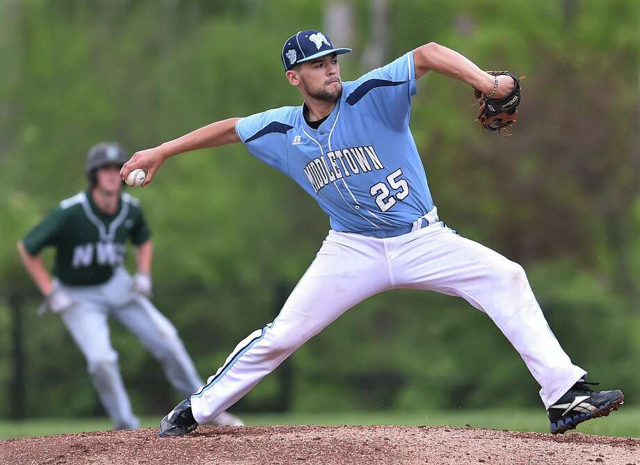 Middletown Kobe Watanabe delivers a pitch against Northwest Catholic, Wednesday, May 16, 2018, in a non-conference game at Middletown High School. NWC won, 11-0. Photo: Catherine Avalone, Hearst Connecticut Media / New Haven Register