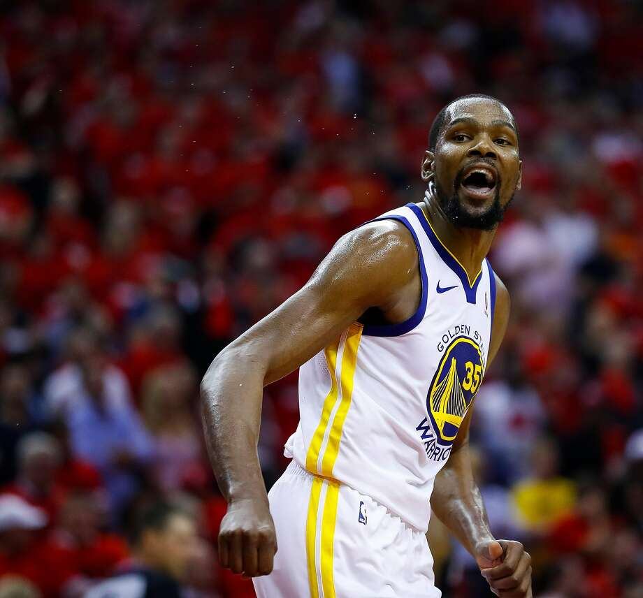 Golden State Warriors forward Kevin Durant (35) reacts during the second half of Game 2 of the Western Conference Finals at the Toyota Center, Wednesday, May 16, 2018, in Houston. ( Michael Ciaglo  / Houston Chronicle ) Photo: Michael Ciaglo / Houston Chronicle