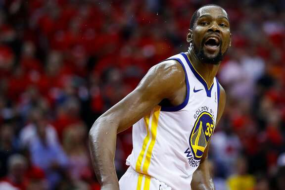 Golden State Warriors forward Kevin Durant (35) reacts during the second half of Game 2 of the Western Conference Finals at the Toyota Center, Wednesday, May 16, 2018, in Houston. ( Michael Ciaglo  / Houston Chronicle )