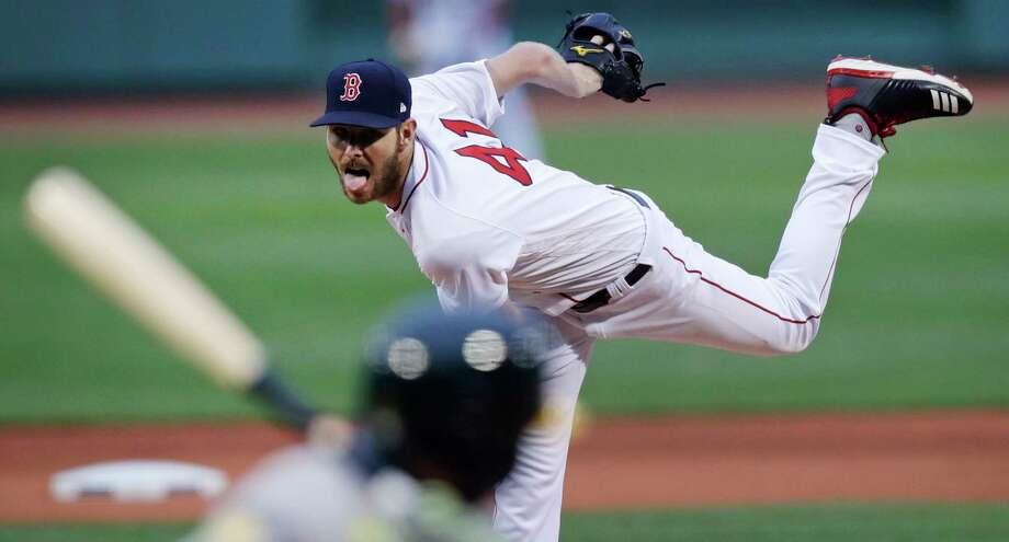 Boston Red Sox starting pitcher Chris Sale delivers during the first inning of the team's baseball game against the Oakland Athletics at Fenway Park in Boston, Wednesday, May 16, 2018. (AP Photo/Charles Krupa) Photo: Charles Krupa / Copyright 2018 The Associated Press. All rights reserved.