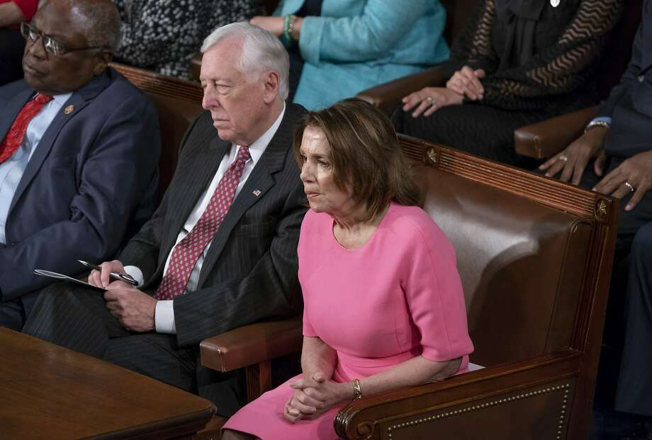 House Minority Leader Nancy Pelosi sits next to Minority Whip Steny Hoyer, D-Md., who has been living in her shadow. Photo: J. Scott Applewhite / Associated Press