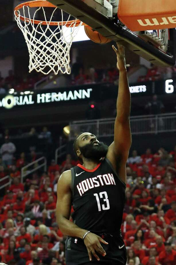 HOUSTON, TX - MAY 16:  James Harden #13 of the Houston Rockets shoots against the Golden State Warriors in the first quarter of Game Two of the Western Conference Finals of the 2018 NBA Playoffs at Toyota Center on May 16, 2018 in Houston, Texas.  (Photo by Ronald Martinez/Getty Images) Photo: Ronald Martinez / 2018 Getty Images