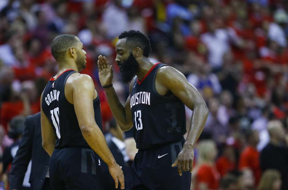 Houston Rockets guard James Harden (13) congratulates Houston Rockets guard Eric Gordon (10) during the second half of Game 2 of the Western Conference Finals at the Toyota Center, Wednesday, May 16, 2018, in Houston. ( Michael Ciaglo  / Houston Chronicle ) Photo: Michael Ciaglo/Houston Chronicle