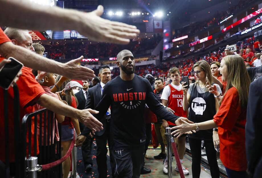 Houston Rockets guard Chris Paul (3) leaves the court after winning Game 2 of the Western Conference Finals at the Toyota Center, Wednesday, May 16, 2018, in Houston. ( Michael Ciaglo  / Houston Chronicle ) Photo: Michael Ciaglo/Houston Chronicle