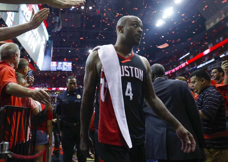 Houston Rockets forward PJ Tucker (4) leaves the court after scoring a personal playoff high in Game 2 of the Western Conference Finals at the Toyota Center, Wednesday, May 16, 2018, in Houston. ( Michael Ciaglo  / Houston Chronicle ) Photo: Michael Ciaglo/Houston Chronicle