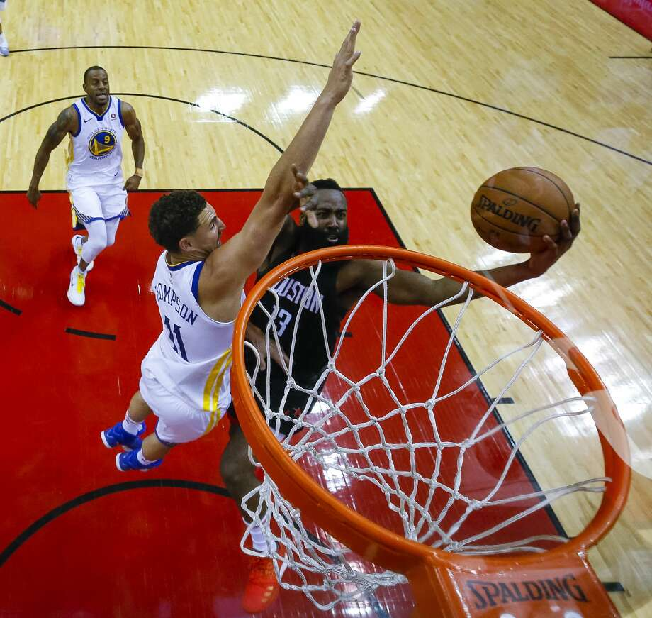 Houston Rockets guard James Harden (13) shoots around Golden State Warriors guard Klay Thompson (11) during the second half of Game 2 of the Western Conference Finals at the Toyota Center, Wednesday, May 16, 2018, in Houston. ( Michael Ciaglo  / Houston Chronicle ) Photo: Michael Ciaglo/Houston Chronicle