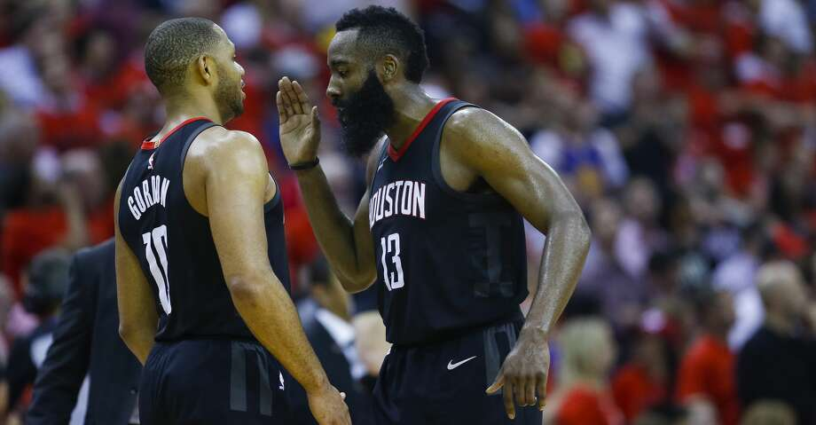 Rockets teammates Eric Gordon and James Harden look to carry the good vibes from Wednesday's victory into Game 3 on Sunday against the Warriors in Oakland. Photo: Michael Ciaglo/Houston Chronicle