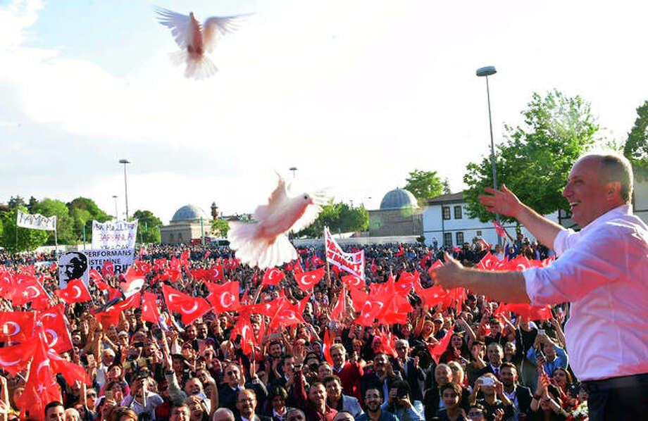 Muharrem Ince, Turkey's main opposition Republican People's Party candidate for president, releases white doves during a rally in Konya, Turkey, in May. Ince is seen as a strong contender to end president Recep Tayyip Erdogan's 16-year rule next month. Photo:       Ziya Koseoglu | CHP (via AP)