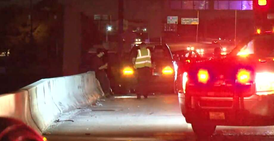 One man died Thursday, May 17, 2018 after he was struck while moving a stalled car the North Sam Houston Parkway at Imperial Valley. Photo: Metro Video