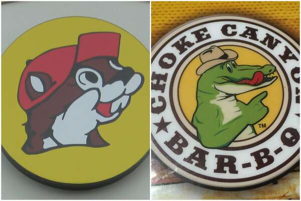 FILE - A composite photograph of the logos of Buc-ee's and Choke Canyon. A lawyer for Buc-ee's is arguing the latter company is intentionally confusing drivers by using an upright aquatic cartoon character to lure in drivers to their roadside emporium.