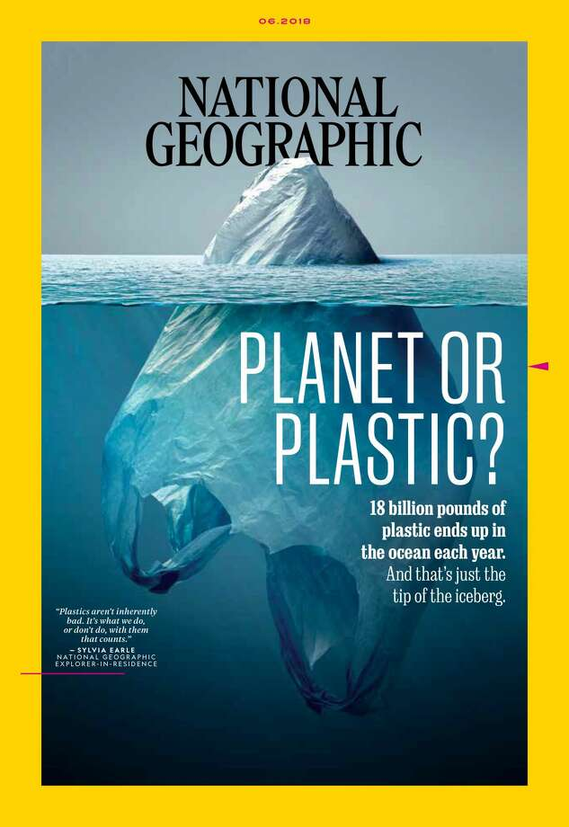 "National Geographic's June 2018 ""Planet or Plastics?"" cover by Vaughn Wallace has a lot of people talking. Photo: Vaughn Wallace / National Geographic"