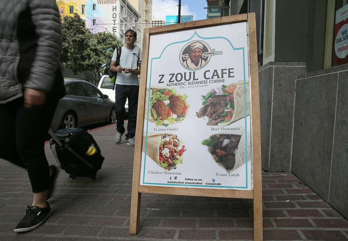 Ad seen outside of Z Soul restaurant, the first Sudanese restaurant in the region on Tuesday, May 15, 2018 in San Francisco, Calif.