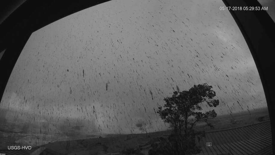 A screen shot from the HVO Observation Tower webcam showing the results of an ash plume explosion at Kīlauea  Volcano's summit on May 17, 2018.  Photo: USGS