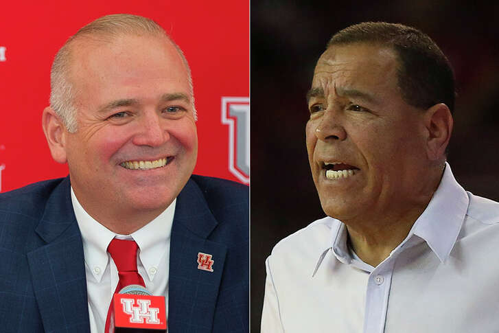 Like his predecessors at the University of Houston, athletic director Chris Pezman (left) has to deal with rumors of one of his high-profile coaches going elsewhere as Kelvin Sampson is rumored to be a candidate for the Orlando Magic's head-coaching opening.